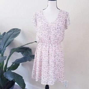 Maison Jules Pink Flutter Sleeve Music Note Dress